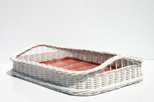 Boston taca wiklinowa biała. Wicker tray